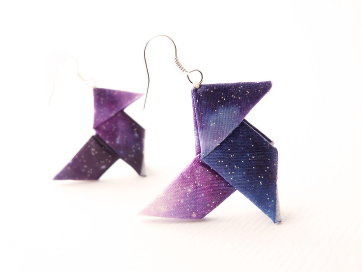 Nebula Galaxy Origami earrings hand-print on silk OOAK by Jye, Hand-made in France. €25,00, via Etsy.