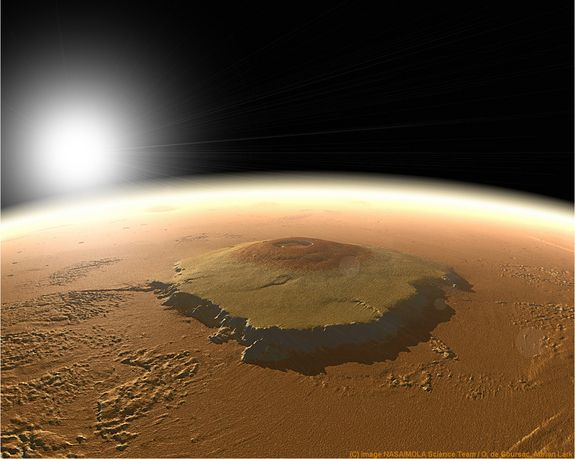 Olympus Mons.  This Martian mountain is so high it sticks out of the atmosphere!