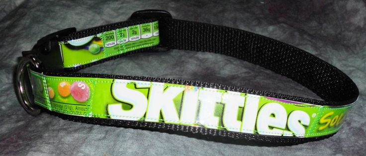 Adjustable Dog Collar from Recycled Sour Skittles Wrappers by squigglechick on Etsy