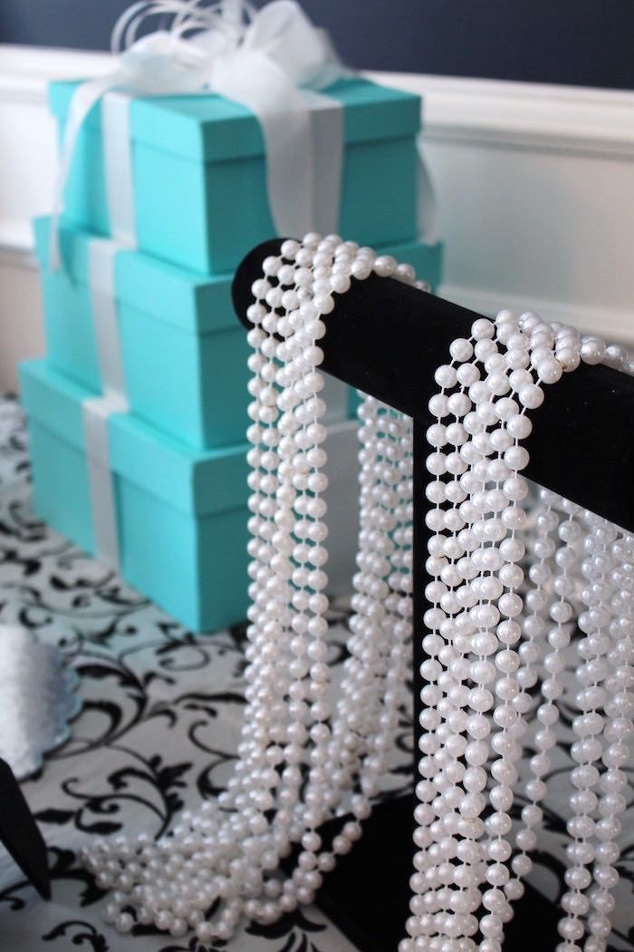 Pearls from a Breakfast at Tiffany's Birthday Party via Kara's Party Ideas KarasPartyIdeas.com (9)
