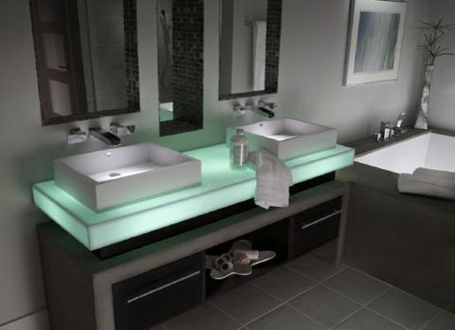 Corian. Light under the sink top. So soft and soothing.