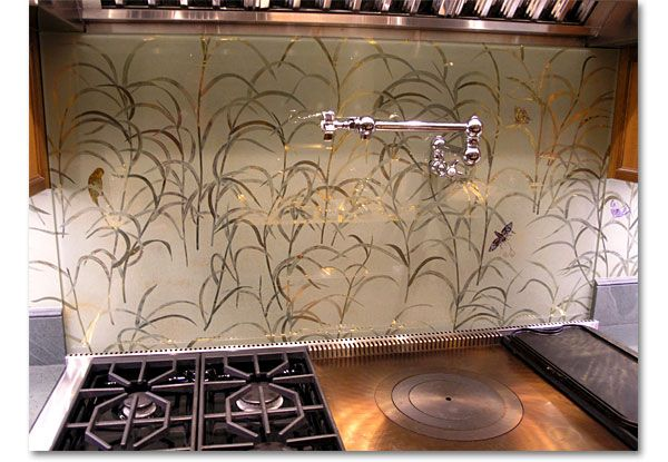 Furniture Awesome Ways to Pick the Faultless Kitchen Furniture: Modern Kitchen Backsplash Grass With A Single Sink In Stainless Steel Together With Gas Range Also A Bowl Underneath With Some Apple In The Bowl Gas Range