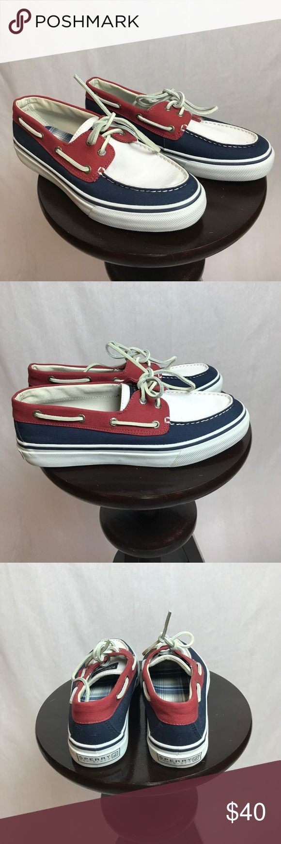 AUTH Pre-owned Male Sperry TopSider red,white,blue Pre-owned/worn Male Sperry topsider boat shoes! Red,White, and Blue! Size 9! No box! Please look at photos carefully! All sales final, no refunds, no returns. Sperry Top-Sider Shoes Boat Shoes