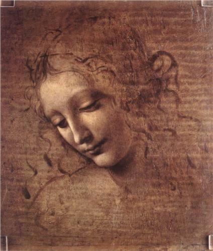 Head of a Young Woman with Tousled Hair (Leda) - Leonardo da Vinci, c.1508