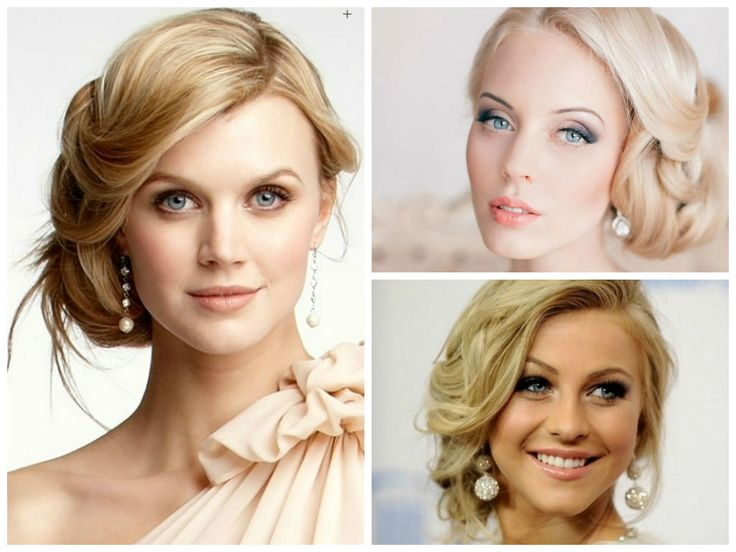 Wedding Hairstyles for a Round Face Shape: Side-swept loose updos. This type of updo fits perfectly with all wedding gown necklines, helps to slim your face and looks lovely in general.. even lets you show off your earrings