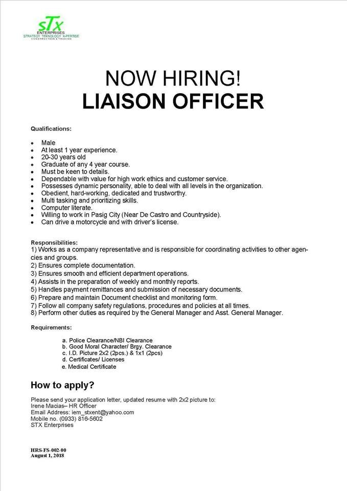 Urgent Hiring Liaison Officer Willing To Work In Pasig City
