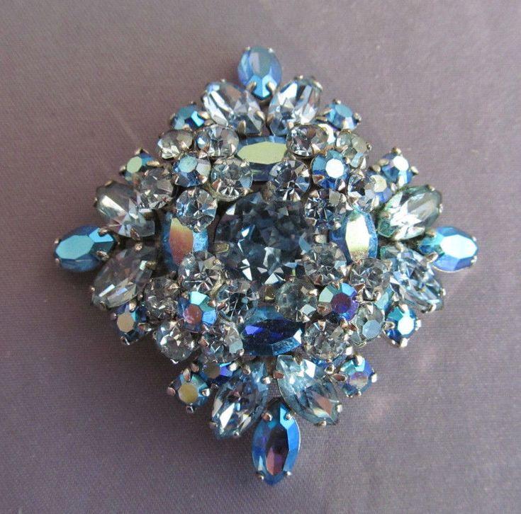 RARE 3D VINTAGE ART DECO SHERMAN BLUE AURORA BOREALIS RHINESTONE Brooch PIN | eBay
