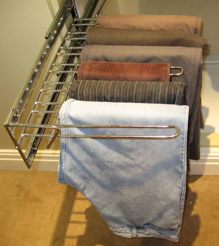 Sleek stainless steel trouser hanger for the wardrobe