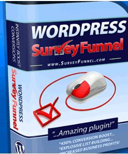 The Survey Funnel Wordpress plug-in has been designed so that it purposely creates curiosity among your web visitors and pulls them into a captivating survey or quiz that pops out on the side of your blog, ultimately leading to an enormous increase in conversions rates and overall profits.  http://www.amazingfreereport.net/blog/2015/01/07/surveyfunnel-wordpress-survey-plugin-for-survey-maker-quiz-questionnaire/