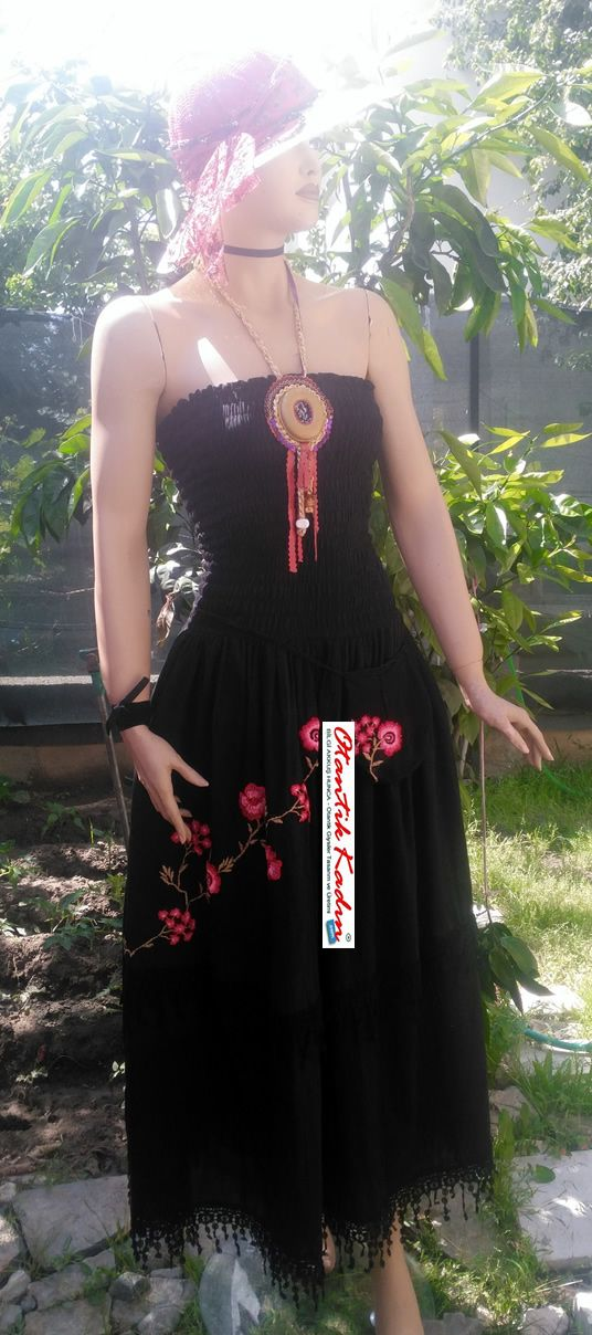Siyah Şile Bezi Otantik Elbise - OE060517-2 | Otantik Kadın, Otantik Giysiler, Elbiseler,Bohem giyim, Etnik Giysiler, Kıyafetler, Pançolar, kışlık Şalvarlar, Şalvarlar,Etekler, Çantalar,şapka,Takılar