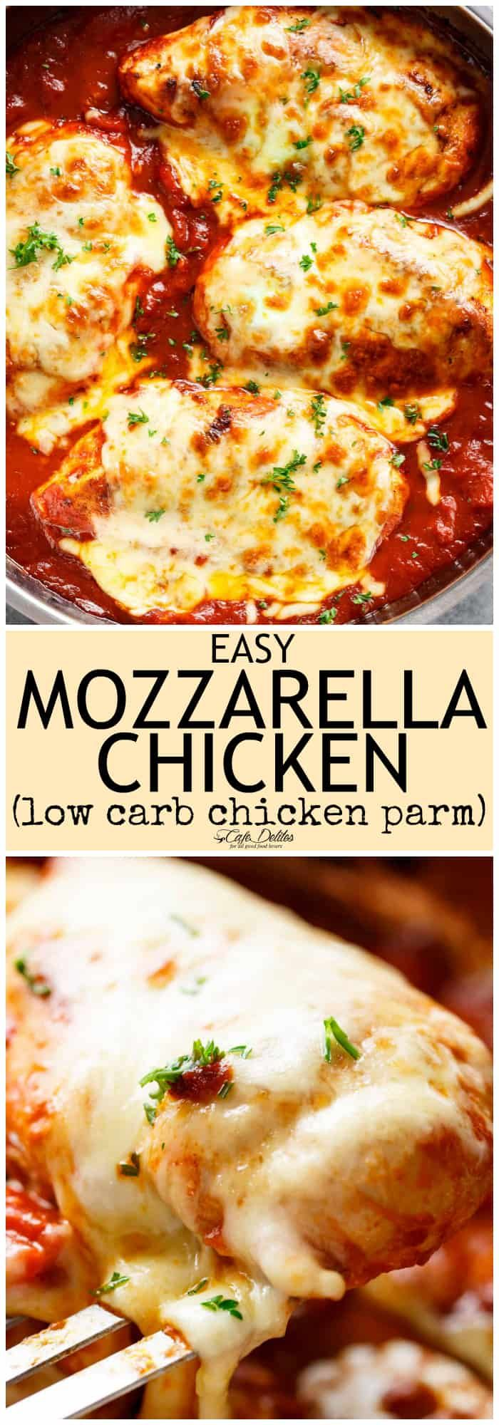 Easy Mozzarella Chicken is a low carb dream! Seasoned chicken simmered in a homemade tomato sauce, topped with melted mozzarella cheese! A 20-minute Low Carb Chicken Parmesan WITH NO BREADING! You don't even MISS a crispy crumb on this chicken. It is SO good!
