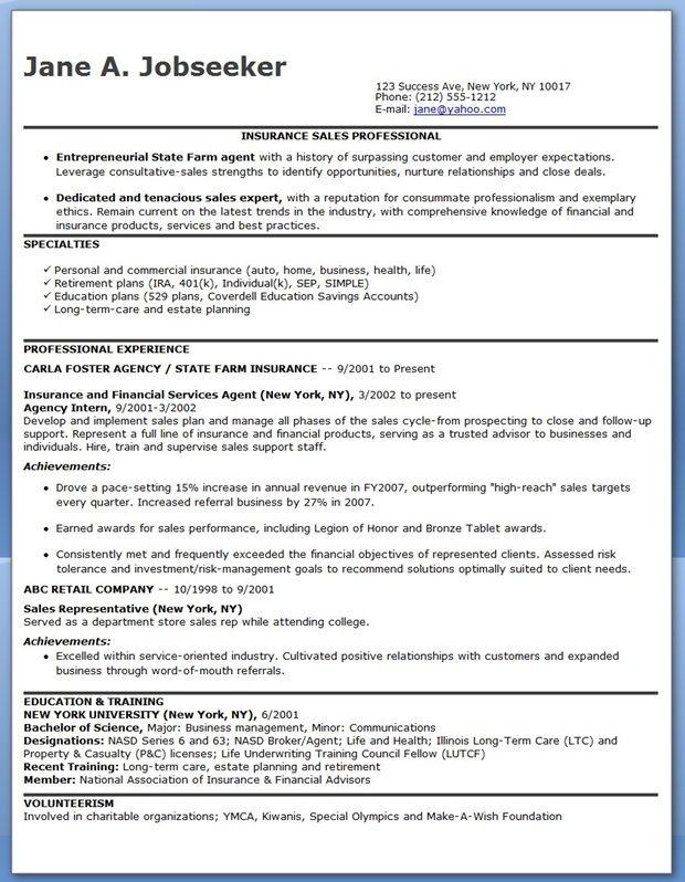 insurance sales resume template