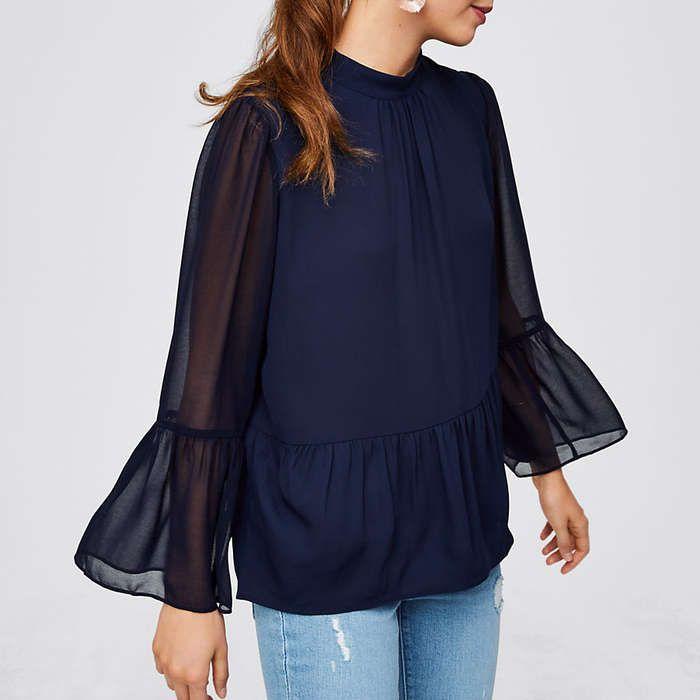 Rank & Style - Loft Bell Sleeve Peplum Blouse #rankandstyle