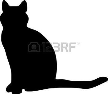 silhouet poes 3a illustratie een zwarte