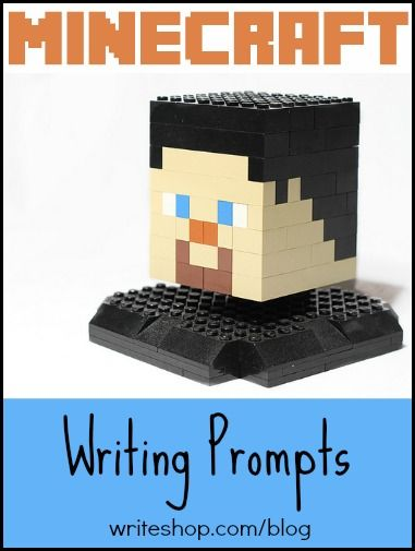 Minecraft writing prompts that will inspire kids to describe, make lists, compare and contrast, and write diary entries {via WriteShop}