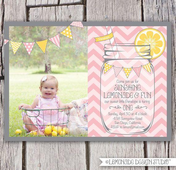 Girls First Birthday Lemonade Invitation  Invite