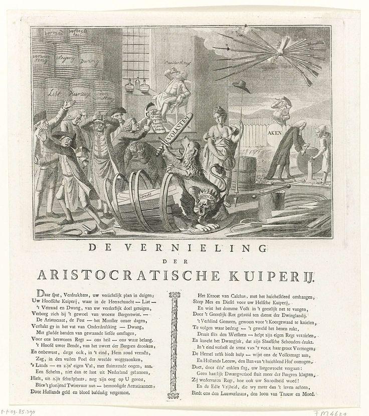 Spotprent op de kuiperijen van de prinsgezinden te Utrecht, 1785, Joannes Hulstkamp, 1785. Mogelijk naar aanleiding van de verkiezing van Jonathan Sichterman, zoon van Gerrit Jan Sichterman, 1785.