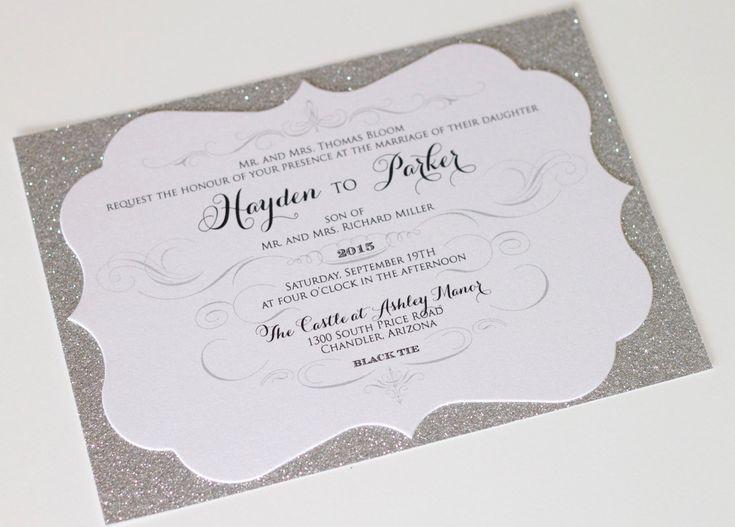 Hayden Cut Frame Glitter Wedding By Embellishedpaperie On Etsy Silver Invitationsglitter