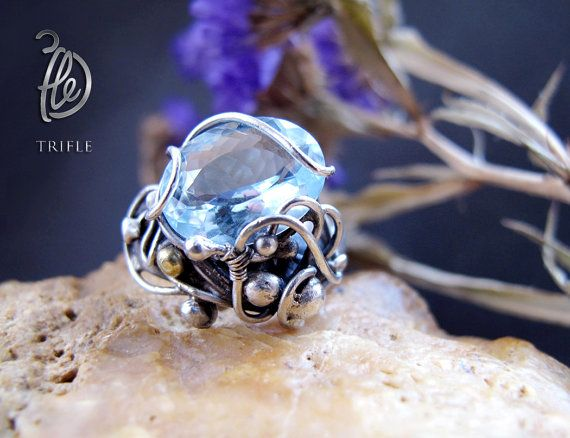 кольцо с голубым топазом the Clouds Travel silver от 3fle на Etsy