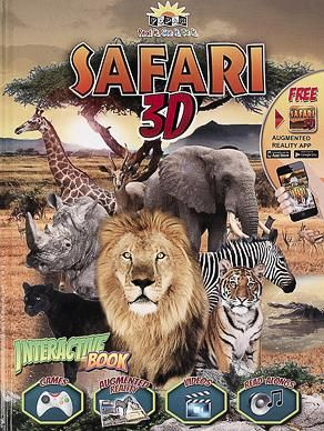 Coge tus prismáticos y prepárate para este Safari 3D, con este libro y su app de AR vas a vivir una excursión interactiva muy emocionante. Conoce a fondo la vida salvaje y a estos increíbles animales: leones, cebras, elefantes, rinocerontes, hipopótamos, que saltan de sus páginas. Descubre sorprendentes y realistas objetos 3D, videos, narraciones y juegos y disfruta de una experiencia diferente, enriquecedora y apasionante.