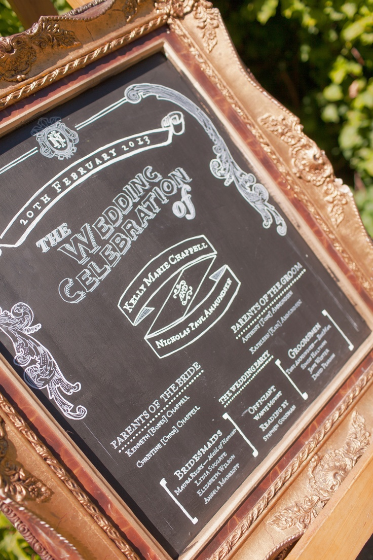 A Vintage & Pretty design wedding programme blackboard.    Photography by Candy Capco