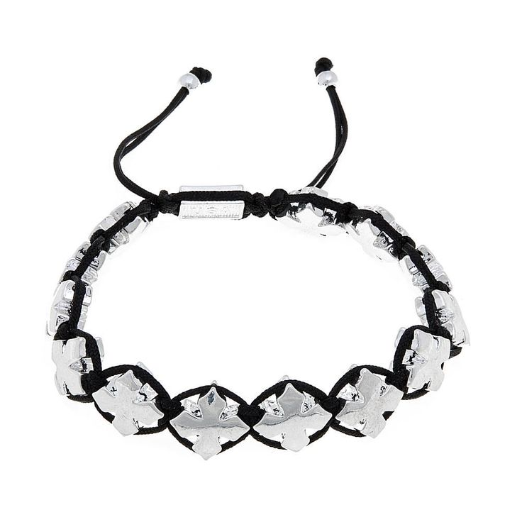 King Baby Jewelry Macrame Silvertone Crosses Bracelet - Black