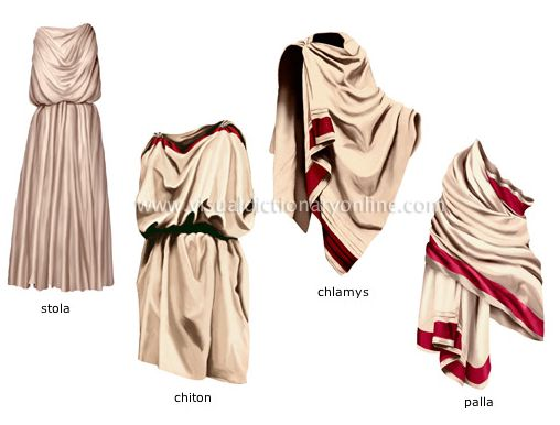 ANCIENT ROMANS MENS CLOTHING : Stola, Chiton, Chlamys, Palla. Chiton - elbow to elbow and below knee when unbelted; Chlamys- about 2.5 yards by 45 inches...throw a couple of W's into the stripe...
