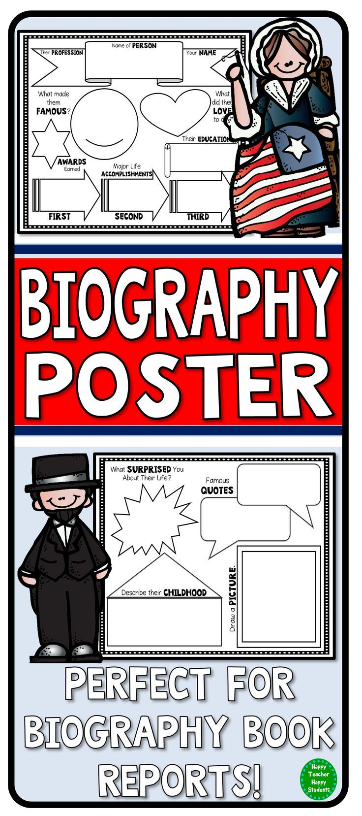 Love this! This Biography Book Report Poster can be used with any biography book or research. Use as a Biography Graphic Organizer to help organize a research paper. They look wonderful on a bulletin board or in a writing portfolio too!