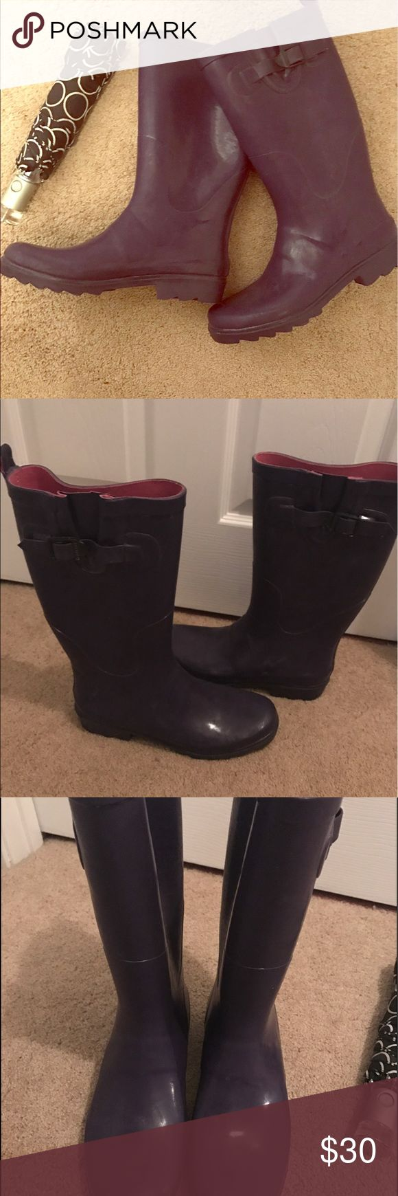 """☔️ Purple and Pink Capelli Rain Boots, EUC ☔️ So sad to list these, I wish they would fit! Anyone with wide calves knows the struggle! These do have some stretch to them, would easily fit 16"""" calf and smaller. My loss is your gain! Super fun purple shade with hot pink fabric lining.  ☔️ Lightly cushioned insole, decorative buckle. ☔️14 inch shaft height (from foot bed)  ☔️Rear pull loop for easy pull on ☔️Appx. 14"""" shaft circumference ☔️MINOR signs of wear, small scuffing here and there from…"""
