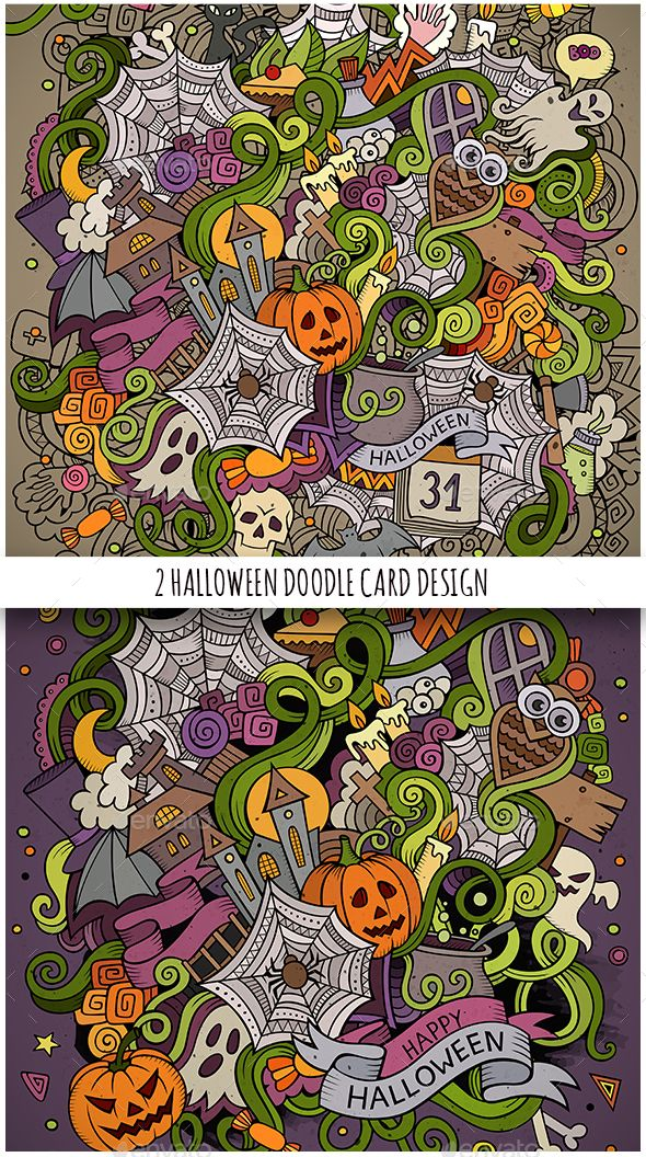 2 Happy Halloween Doodles Illustrations