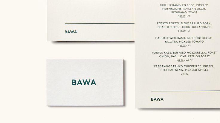 Bawa Cafe - Stationary Design. Design by Foolscap Studio.