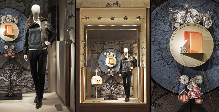 Hermès shop displays by Tim John, Fall 2013, Germany window display