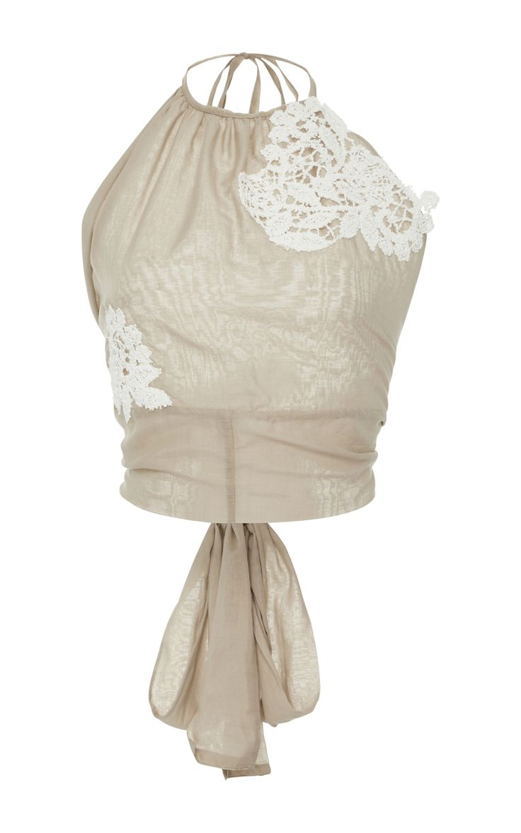 Lace-appliqued halterneck top by LILA EUGENIE  Now Available on Moda Operandi