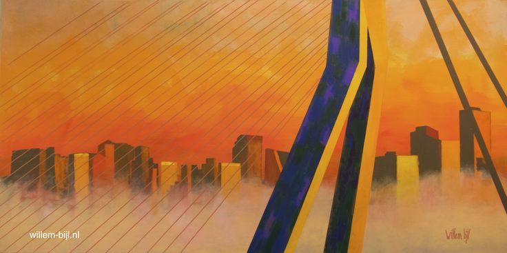 OCHTENDGLOREN ROTTERDAM 70/140 acryl/doek  De inspiratie was even een blokje om, maar gelukkig weer volledig aanwezig met dit nieuwe schilderij.   atelier-galerie Willem Schildert Rotterdam kleiweg 301 3051xp > ben meestal open hoor maar geef even seintje  #ochtendgloren #Erasmusbrug #Maas #kunst #art #galerie #gallery #schilderij in #opdracht #painting #Rotterdam #stad #stadsgezicht #haven #havengezicht #kleiweg #kunstenaar #kunstschilder #Willem www.willem-bijl.nl