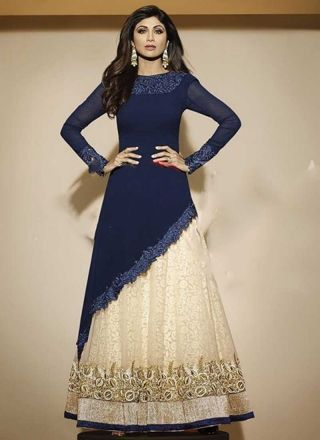 Shilpa Shetty Blue Georgette Cut Work Anarkali Suit http://www.angelnx.com/Salwar-Kameez/Bollywood-Salwar#/sort=p.date_added/order=DESC/limit=32/page=2