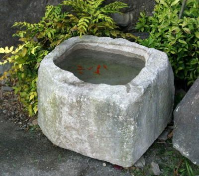 Hypertufa (stone-look) cement container for small goldfish | Small space D.I.Y. water gardening