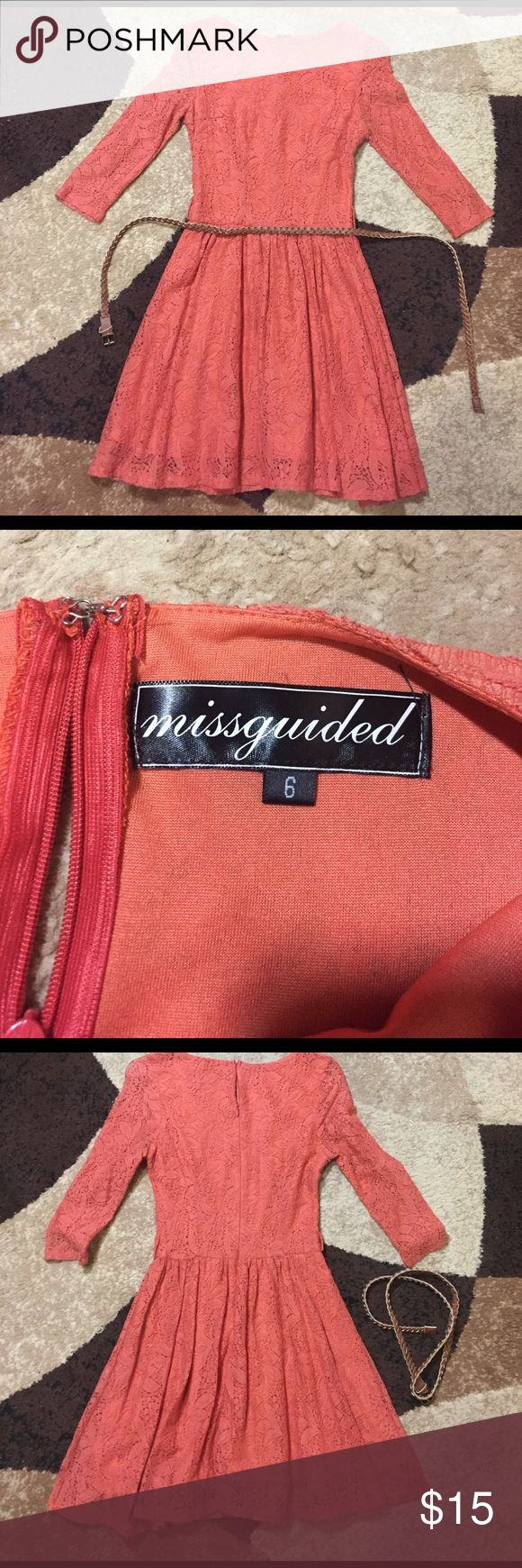 MisGuided Dress Orange Lace Dress from Misguided. Perfect for spring. Light and flirty dress. This dress has no elastic so it doesn't stretch. This dress falls above the knee so if you don't like short dresses this isn't for you. Worn once. In perfect condition. The zipper is a little sticky and that's the way I bought it but it still works Misguided Dresses Mini