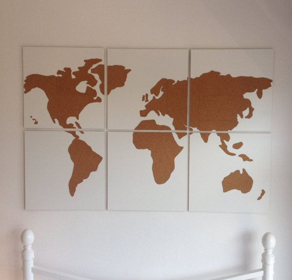 Cork World Map on wooden canvas - Wall Art - White canvas