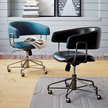 Halifax Upholstered  Office Chair #westelm  Love the blue chair - color and style great paired wtih wood.