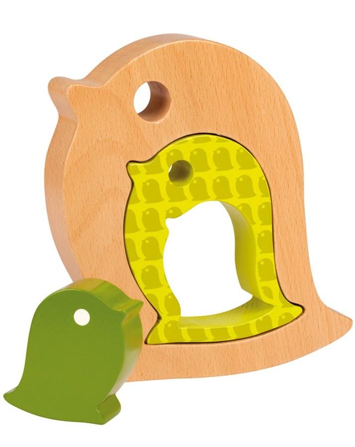 Janod Holz-Tiere Bird 3-teilig in grün