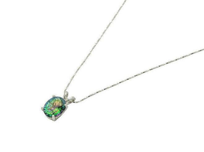 Magic Green Quartz & Sterling Silver Pendant by ElizabethEverettJ on Etsy