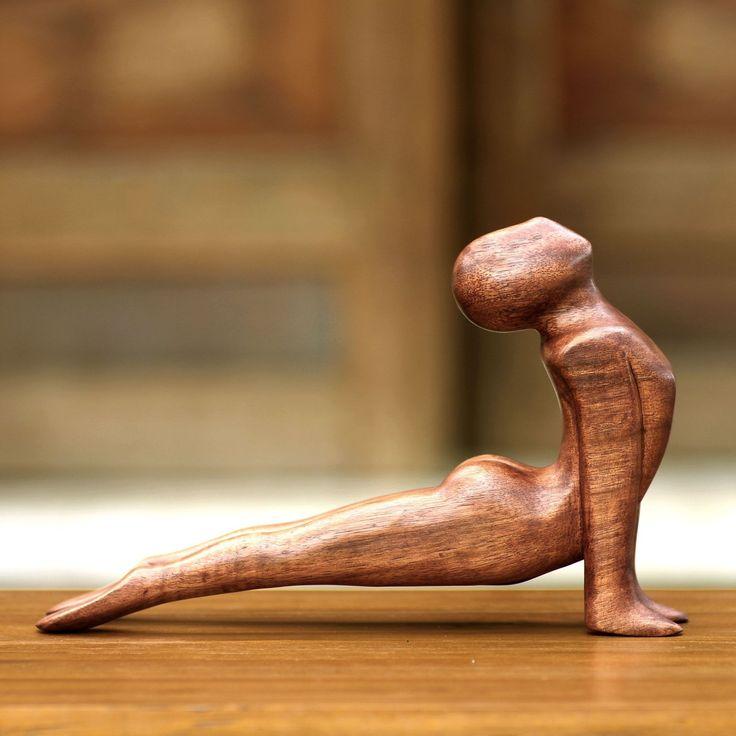 Novica Yoga Cobra Pose Sleek Graceful Meditative Decorator Accent Hand Carved Modern Signed Art Work Sculpture