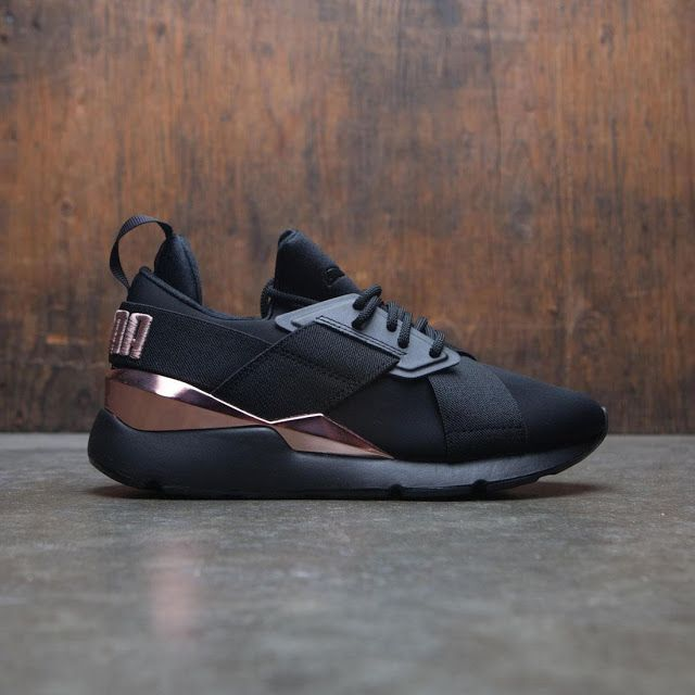 NEW WOMENS PUMA Muse Metal Athletic Shoe Black Rose Gold X 2