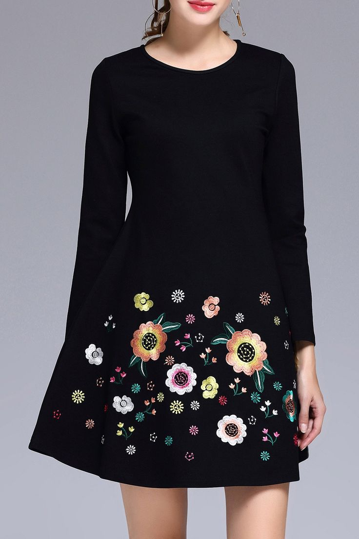 Fit and Flare Embroidered Dress ==