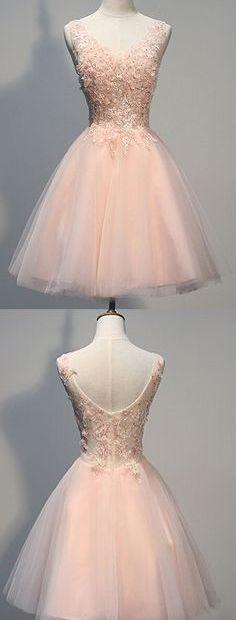 Short dress Charming Homecoming Dress,Blush Pink Homecoming dresses.Lace prom dresses, Beaded evening dresses,Backless homecoming dresses,V-neck Prom Dresses
