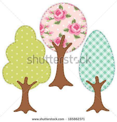 Conjunto de tres árboles de la industria textil apliques retro de varias telas en estilo elegante lamentable
