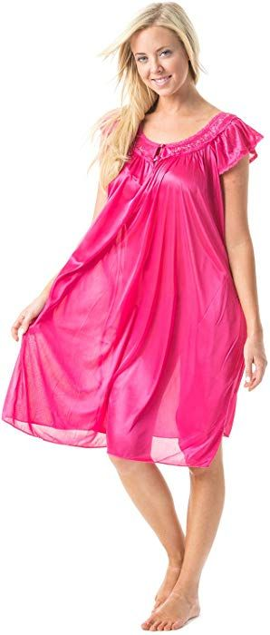 14d8b1e468 Casual Nights Women s Satin Nightgown Embroidered Lace Cap Sleeve - Pink -  Large at Amazon Women s Clothing store