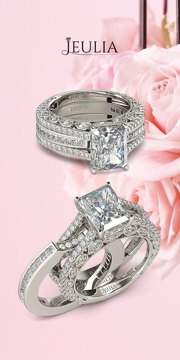 Milgrain Emerald Cut Created White Sapphire Rhodium Plated 925 Sterling Silver Women's Engagement Ring /Bridal Ring Set #jeulia