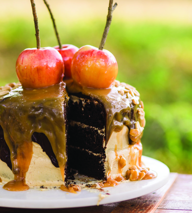 Chocolate Carmel Apple Cake from Katie Jacobs' new cookbook, So Much to Celebrate: Entertaining the Ones You Love the Whole Year Through #chocolatecake #carmelapple #carmelcake #caramelcake #caramelapple #chocolatecarmel #chocolatecaramel
