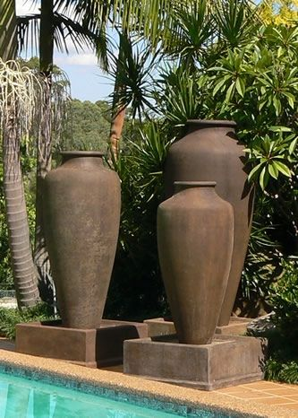 The Giant Caduceus Urn was  one of my first GRC products . over 7 foot tall weighing under 50 kg . shown here set up as fountains fountains .